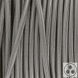 Textilkabel, Stoffkabel, Lampen Kabel Strom, 3-adrig, 3x0,75mm², GWH-Silber