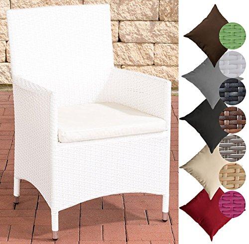 CLP Poly-Rattan Garten-Stuhl JULIA, ALU Gestell, mit Sitzkissen, 5 Rattan Farben + 5 Bezug Farben Rattanfarbe: Weiss, Bezugfarbe: Cremeweiß