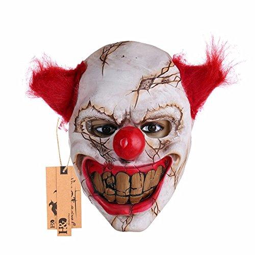 Scary Clown Latex Maske Big Mund Red Haare Nase Cosplay Full Gesicht Horror Masquerade Adult Ghost Party Maske für Halloween (Scary Big Clown)