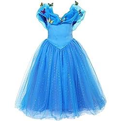 ELSA & ANNA® Princesa Disfraz Traje Parte Las Niñas Vestido (Girls Princess Fancy Dress) ES-FBA-CNDR4 (5-6 Años, ES-CNDR4)