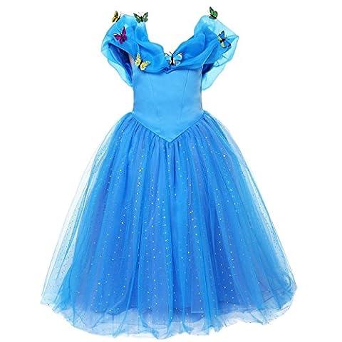 ELSA & ANNA® Mädchen Prinzessin Kleid Verrücktes Kleid Partei Kostüm Outfit DE-FBA-CNDR4 (4-5 Jahre, (Partei Kostüme)