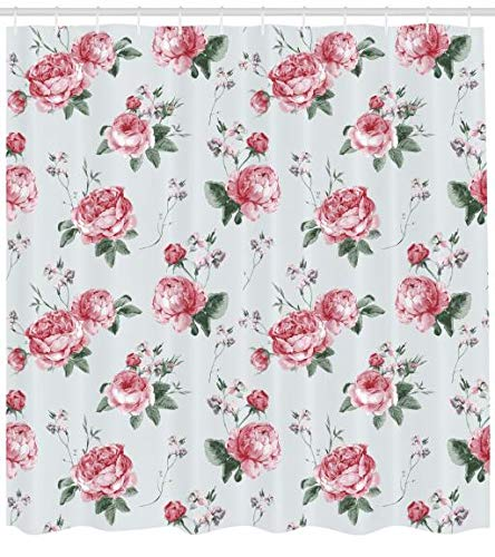 ABAKUHAUS Rose Duschvorhang, Rosa Blüten-Englisch Flora, Hochwertig mit 12 Haken Set Pflegeleicht Farbfest Wasser Bakterie Resistent, 175 x 200 cm, Reseda Green Pink (Rosa Duschvorhang Set)
