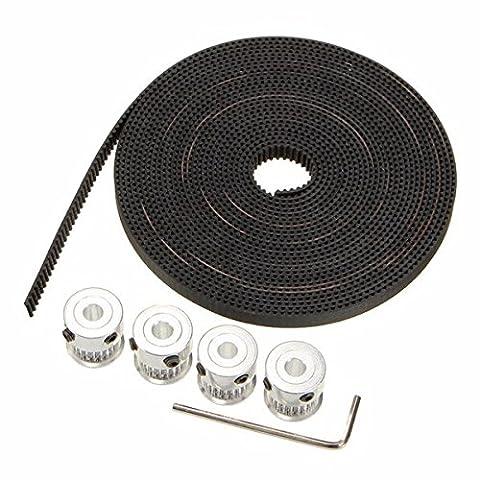wishfive GT2Aluminium Timing Riemenscheibe 20Zähne M4Schraube 5m Gürtel für 3D-Drucker CNC