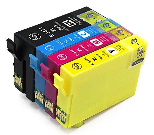4 Druckerpatronen für Epson 34XL 34 XL mit Chip (1 Schwarz, 1 Cyan, 1 Magenta, 1 Gelb) kompatibel mit Epson Workforce Pro WF-3720DWF WF-3725DWF -