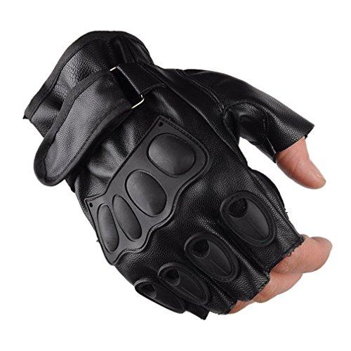 guanti parkour FairytaleMM Guanti di Cuoio degli Uomini dell unità di Elaborazione dei Guanti della Mezze Dita per Gli Sport Militari Tattici Che ciclano