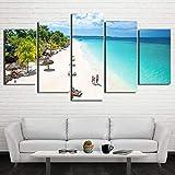 mmwin Lienzo HD Imprime Hogar Decorativo Mar 5 Unidades Playa Arte de Pared Paisaje Modular Imágenes para la Sala de Estar Ilustraciones Cartel