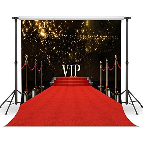 LYWYGG 10x10FT Der Rote Teppich Mit Funkelnden Brillante Stars Als Erfolg Der Fotografie Hintergrund Neugeborene Kinder Studio CP-45 - 10ft Teppich