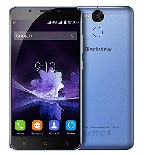 Blackview P2 - 5,5 pulgadas Android 6.0 4G smartphone 4 GB RAM 64 GB ROM Octa Core 1.5GHz 8.0MP + 13.0MP Cámaras Huella dactilar Batería de 6000mAh Cuerpo de metal - azul