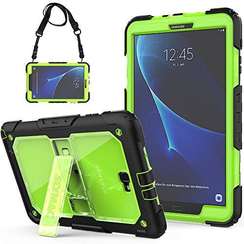 SEYMAC Galaxy Tab A 10.1 Hülle Robuste Schutzhülle mit eingebautem Ständer/Verstellbarer Schultergurt für Samsung Tab A6 10.1 2016 Tablet (SM-T580/SM-T585, Keine Stift- Version) schwarz/grün