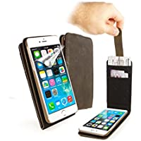 """Tuff-Luv Personnalisé (Par exemple un nom ou une inscription de votre choix) étui In-Genius """"Western Leather Collection"""" en cuir vèritable marron pour Apple iPhone 8"""
