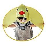 Regenschirm Kinder mit Hut Regenschirme Knirps Jungen Mädchen Niedlicher RegenmantelUFO Gelbe Ente Regenschirm Hut Kappe Hände Frei Regenmantel Regenschirm Winddicht (Gelb, S)