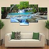 YCWYF Toile Mur Art Cascade Peinture Feng Shui Décorer 5 Panneau HD Imprimer pour La Maison Salon décoration...