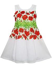 Sunny Fashion - Vestido con estampado floral para niña rojo