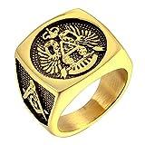 LANCHENEL Männer Gold Titan Stahl Europäische Und Amerikanische AG Freimaurer Ringe,Größe 59 (18.8)