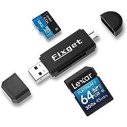 Fixget Lecteur de Cartes Mémoire, SD / Micro SD Lecteur de Cartes / Micro USB OTG vers USB 2.0 Adaptateur Avec USB Standard Mâle / Micro USB Connecteur Mâle pour PC, Smartphones Avec Fonction OTG, Non