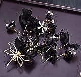 mdrw-accessori para pelo de novia y de novia N Bridal tocado rojo blanco parte Cabeza Flor Accesorios featherdress horquillas lugar adornos para el cabello, negro