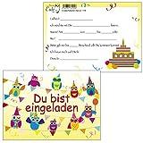 10 Einladungskarten Feier-Biest Eulen