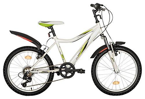 Clamaro 'Rockz 2017' Kinderfahrrad 20 Zoll Mountainbike mit Federgabel, Shimano RevoShift 6 Gang Schaltung und V-Bremsen, hartdail Kinder Mountainbike inkl. Spritzschutz vorne u. hinten, Farbe: Weiß Perle