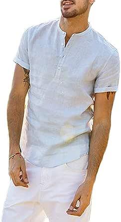 Loalirando Camicia da Uomo Manica Corta Camicia Uomo Slim Fit Magliette Uomo Tinta Unita Cotone Lino(M-3XL)