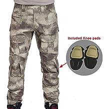 Hombres Shooting BDU Combate Pantalones Pantalones con rodilleras camuflaje para ejército militar táctico para Airsoft y Paintball, color Atacs, tamaño XXL
