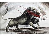 KunstLoft Acryl Gemälde 'Mit Ehre und Stolz' 120x80cm | original handgemalte Leinwand Bilder XXL | Stier Bulle Stierkampf Grau | Wandbild Acrylbild Moderne Kunst einteilig mit Rahmen