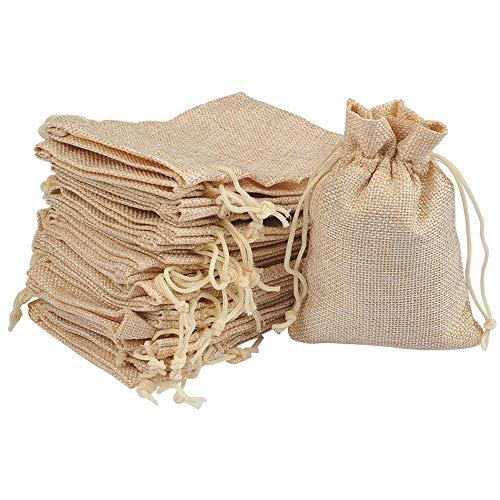 FOCCTS 25 Stück Leinen & Baumwolle Sackleinen Taschen mit Kordelzug Geschenktüten Schmuckbeutel für Hochzeitsfest und DIY Craft 10CM x 14CM 25 Natur Säckchen
