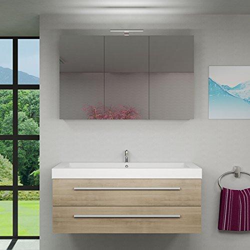 Waschtisch mit Waschbecken, Unterschrank City 101 120cm Eiche hell - 5