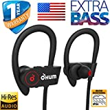 OHUMLABS Sports Waterproof Wireless Bluetooth Earphones with pouch case ,headset,hands free Stereo Sound