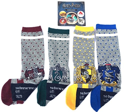 Ladies Harry Potter Socks 4 Pair Pack Plus x 5 Pack Badges