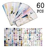 Segnalibri Flamingo per donne Ragazze, citazioni ispiratrici Foglie fiori Libro Marker Cards for Kids Bambini Studenti (60 Pack)