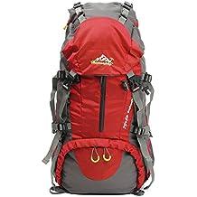 Zaino da Trekking Zaini da Escursionismo (più di 45 L) Nylon Impermeabile con Parapioggia Montagna Campeggio Alpinismo Viaggio per Donna e Uomo 30*20*60cm - OUTERDO