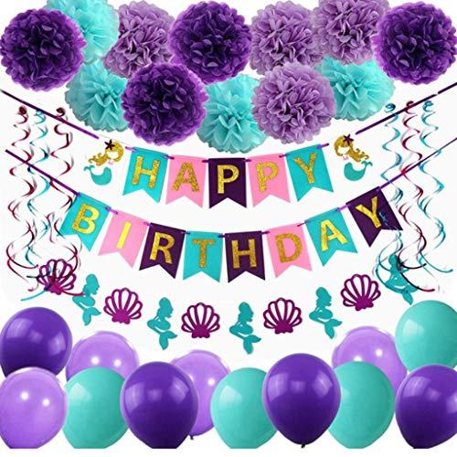 Amycute 44 Stück Meerjungfrau Party Supplies Set,Mermaid Papier Pompoms,Happy Birthday Banner, Luftballons, Spiral Girlanden ,Ideal für Mädchen Party unter dem Meer Thema Braut und Baby Dusche.