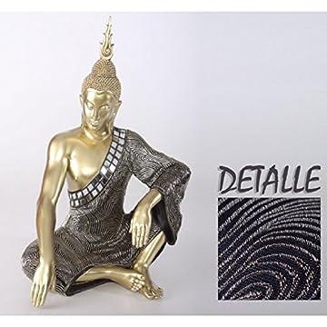 Figura de Buda sentado en resina y tela - Color dorado (32x22x48 cm) 6