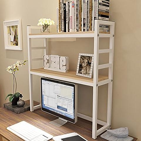 SESO UK- Simple Creative Computer Desk Shelves BookShelf Flower Racks Storage Shelter Children Student Bookcase Wood Dormitory - Multiple Layers ( Color : White and maple color