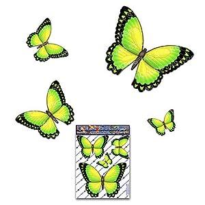Schmetterling Gelb D1 Kleintier Pack Auto Aufkleber - ST00025YW_SML - JAS Aufkleber