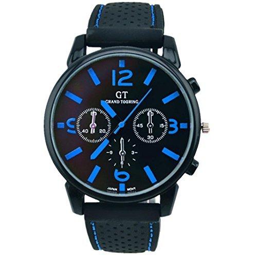 Fulltime(TM) Mode Hommes Montres à Quartz Bracelet en Silicone, Montre de Sport Militaire Noir + Bleu