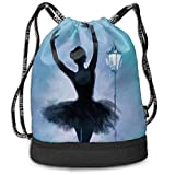 Rtytgfdw Multi-Functional Unisex A Ballet Girl Under A Streetlight Beam Mouth Backpack