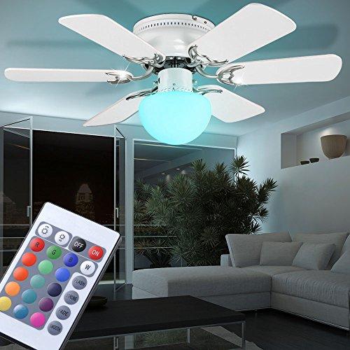 Lüfter Decke Licht (Decken Ventilator Raumkühler Lüfter Beleuchtung Farbwechsel Dimmer im Set inklusive RGB LED Leuchtmittel)