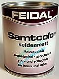 Feidal Alkydharzlack, Buntlack Samtcolor, auf Lösemittelbasis, für Innen und Außen, Cremeweiss RAL 9001, seidenmatt, 750 ml, Malerqualität