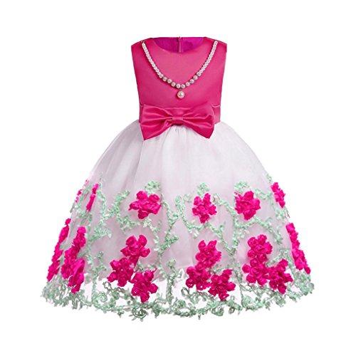 Amlaiworld Mädchen Blumen drucken Party Kleider Baby Sommer Seidenblume Dekoration Kleid Ärmellos Geburtstag Hochzeit Mode Kleidung Schön Geschenke Für Kinder, 5-10 Jahren (6 Jahren, B - Rot)
