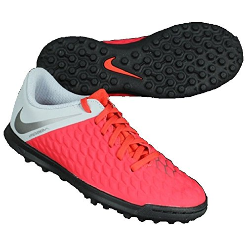 Nike Jr Hypervenom 3 Club Tf, Scarpe da Calcetto Indoor Unisex-Adulto, Multicolore (Lt Crimson/Mtlc Dark Wolf Grey 600), 38.5 EU
