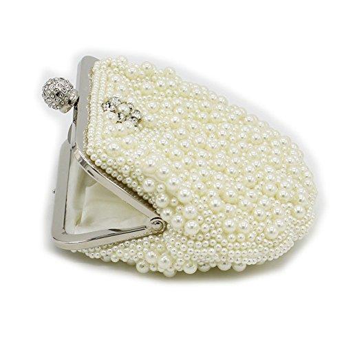 B-JOY Damen Vintage Samen Perlen Strass Damen Clutch Handtasche Abendtasche Hochzeit Beaded Abschlussball & Party-Abend Handtasche Beige