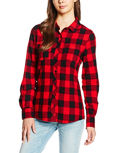 Urban Classics Ladies Turnup Checked Flanell Shirt, Chemisier Femme Multicolore (blk/red 44)