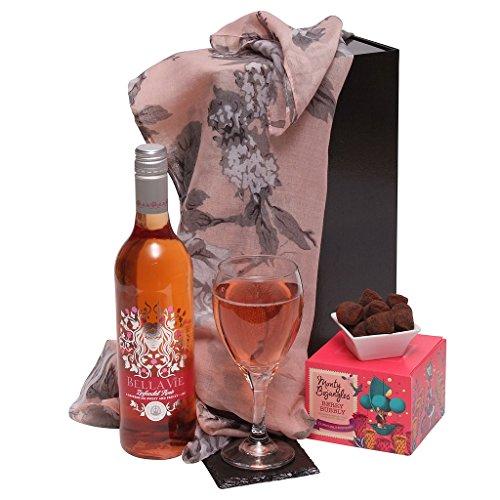 Ladies Delight Hamper Gift Set - Luxury Hampers For Her - Rose Wine & Chocolates Gift Hamper
