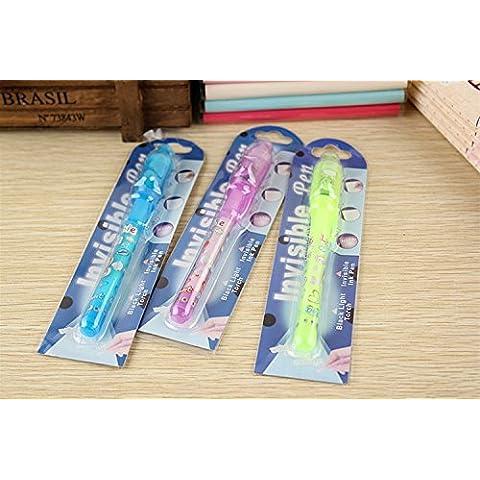 Domire-Pennarello e invisibile di sicurezza integrata a LED, ultrasottile, colore: viola 4 pcs -4 (Blacklight Pen)