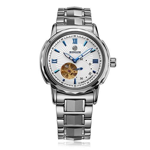 BINLUN Herren Analog Automatik Uhr mit Edelstahl Armband Wasserdicht Skelett FBL0051G-SSB