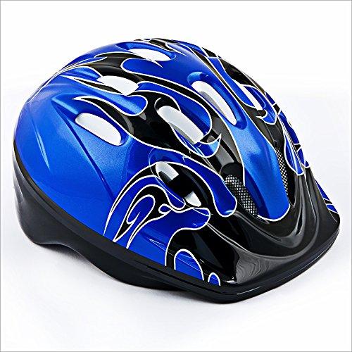 Relaxdays Kinderhelm für Radfahrer Kinderfahrradhelm Fire Design Farbe Blau