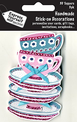 Express Yourself MIP, self adhesive, Teacups & Saucers Mini Multi Pack Toppers - Ideal for Card Making, Gift Wrapping, Scrapbooking, Papercrafts, Childrens Crafts etc