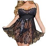 Große Größen Nachthemd für Damen/Dorical Frauen Sleepwear Negligee Satin Sexy Tiefer V-Ausschnitt Unterkleid Nachtwäsche Nachtkleid Ärmellos Rückenfrei 12 Farben S-6XL (3XL, Z03-Schwarz)