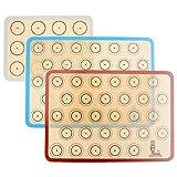 Backmatte aus Silikon für Macaron Keks - 3-Stück Set, Antihafte Matte für Makronen / Kuchen / Brot, 42x29,5 cm; 29, 2cm×21,6 cm, aus Super Kitchen